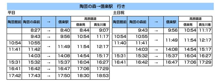 陶芸の森→信楽駅行き