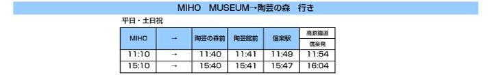 ミホミュージアム→陶芸の森行き